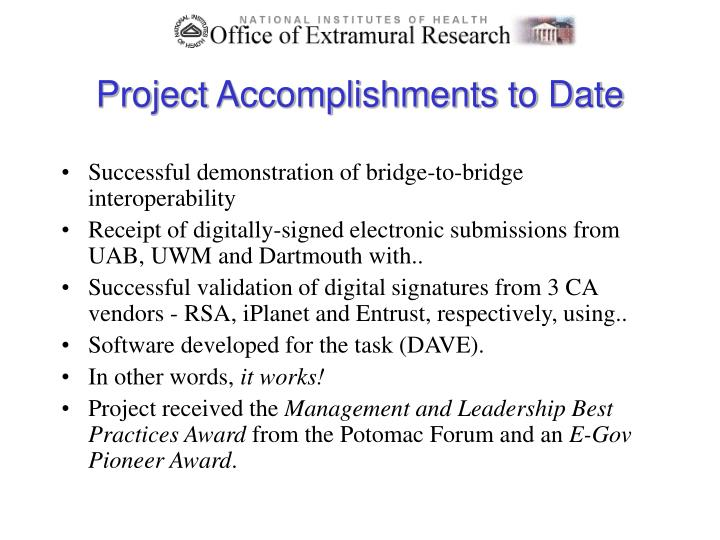 Project Accomplishments to Date