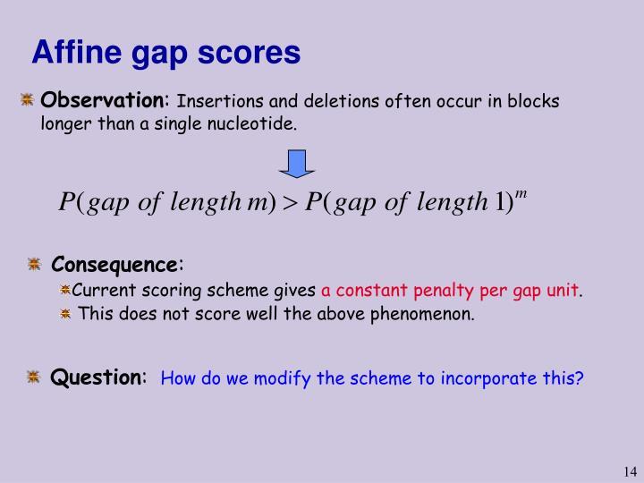 Affine gap scores