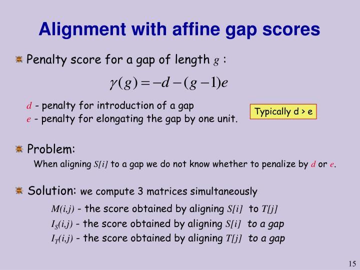 Alignment with affine gap scores