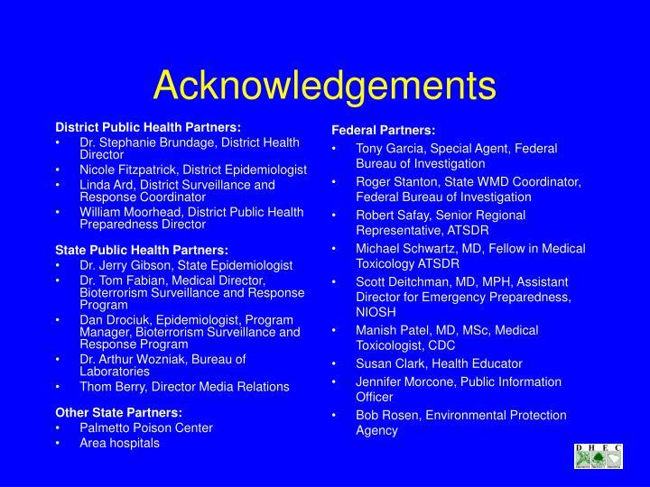 District Public Health Partners: