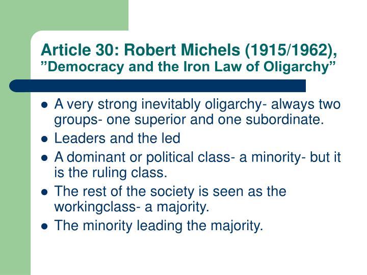 Article 30: Robert Michels (1915/1962),