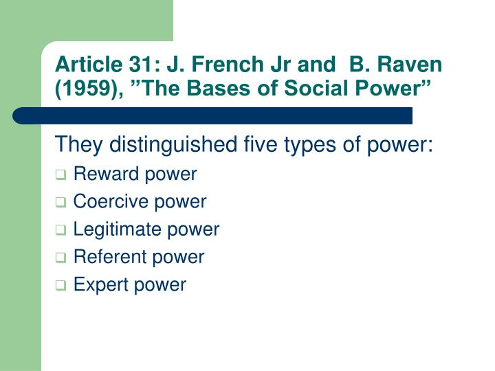 """Article 31: J. French Jr and  B. Raven (1959), """"The Bases of Social Power"""""""