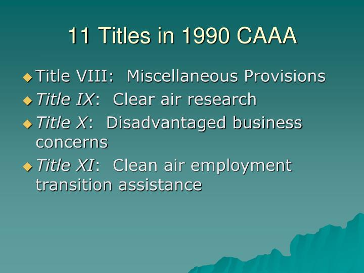 11 Titles in 1990 CAAA