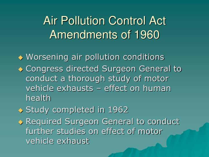 Air Pollution Control Act Amendments of 1960