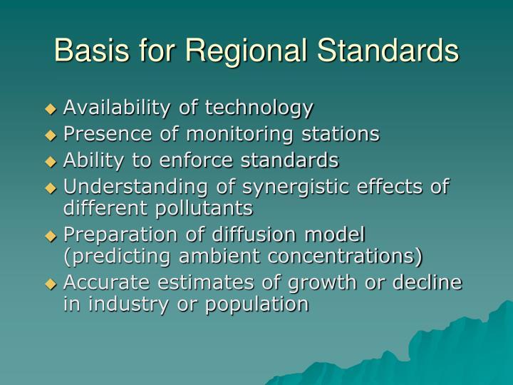 Basis for Regional Standards