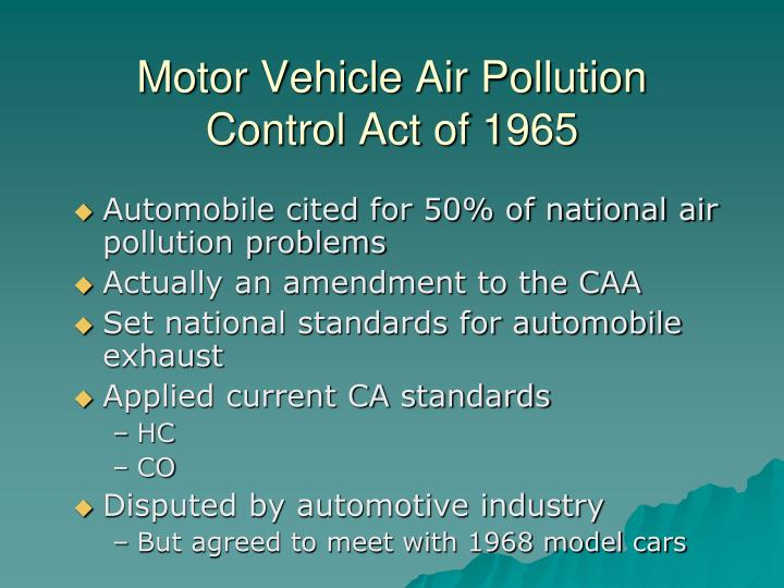 Motor Vehicle Air Pollution Control Act of 1965