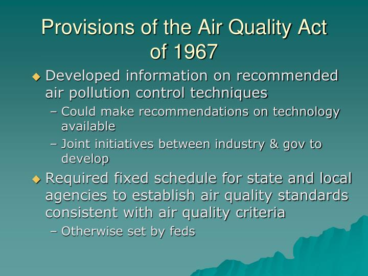Provisions of the Air Quality Act of 1967