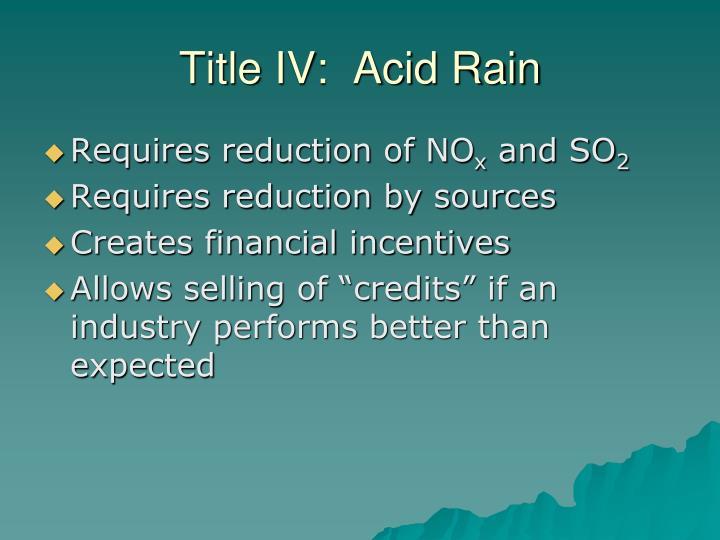 Title IV:  Acid Rain