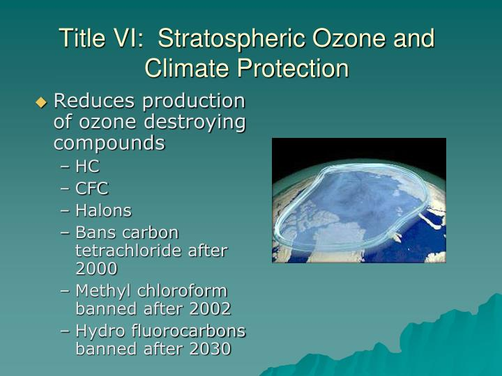 Title VI:  Stratospheric Ozone and Climate Protection