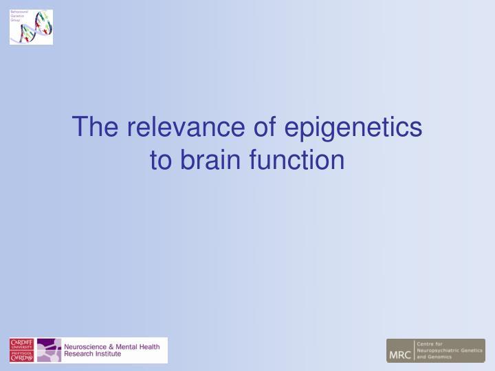 The relevance of epigenetics to brain function