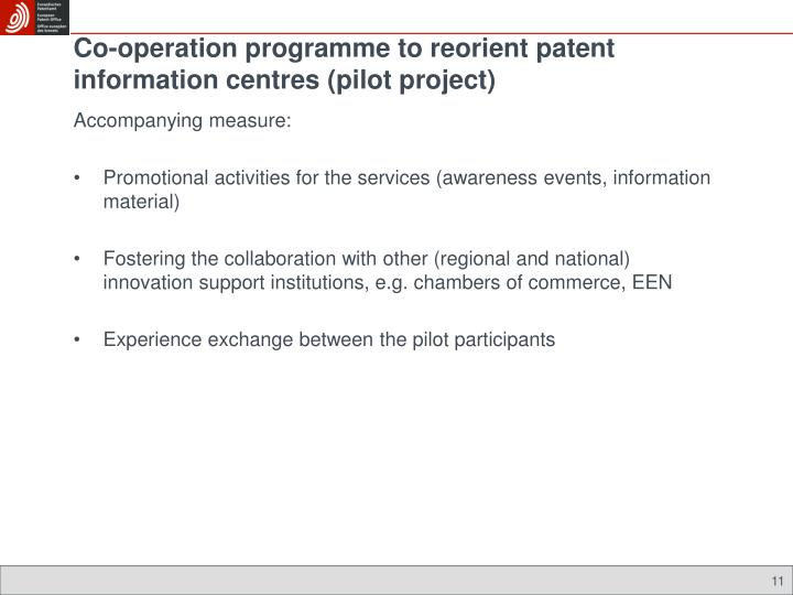 Co-operation programme to reorient patent information centres (pilot project)