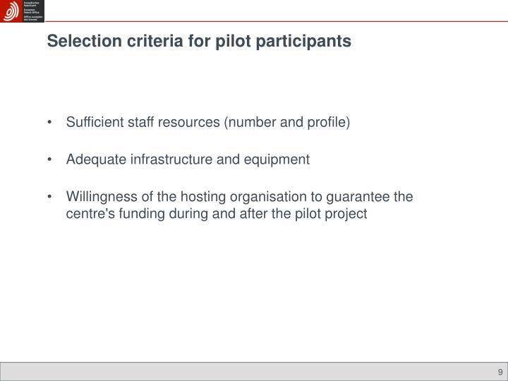 Selection criteria for pilot participants