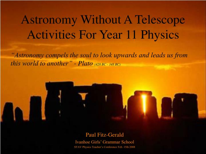 astronomy without a telescope activities for year 11 physics