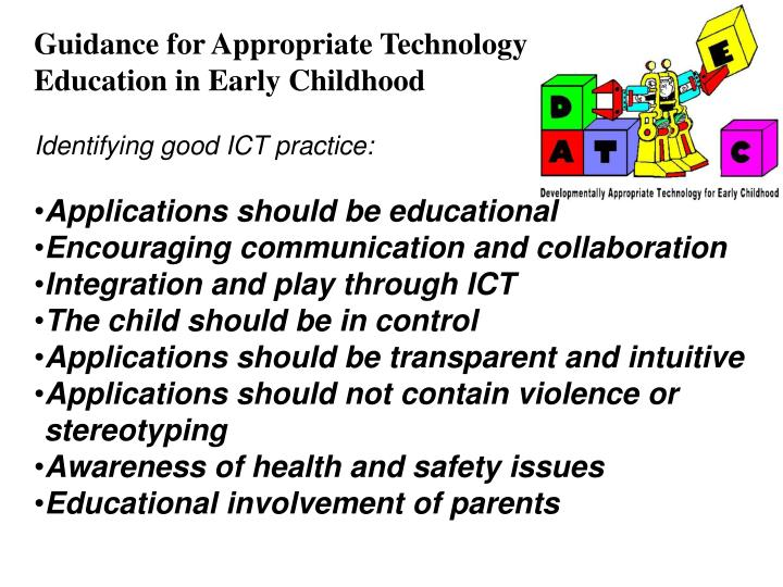 Guidance for Appropriate Technology