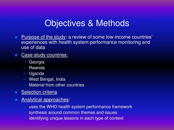 Objectives & Methods