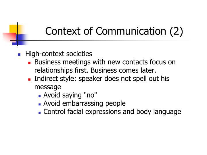 Context of Communication (2)