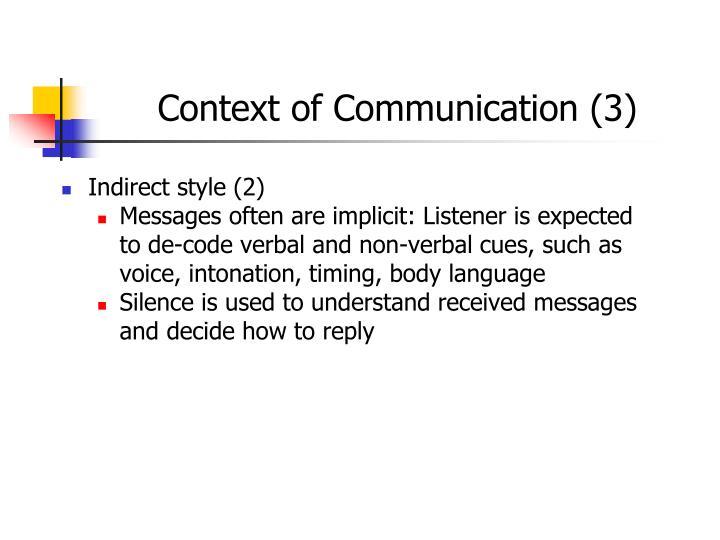 Context of Communication (3)