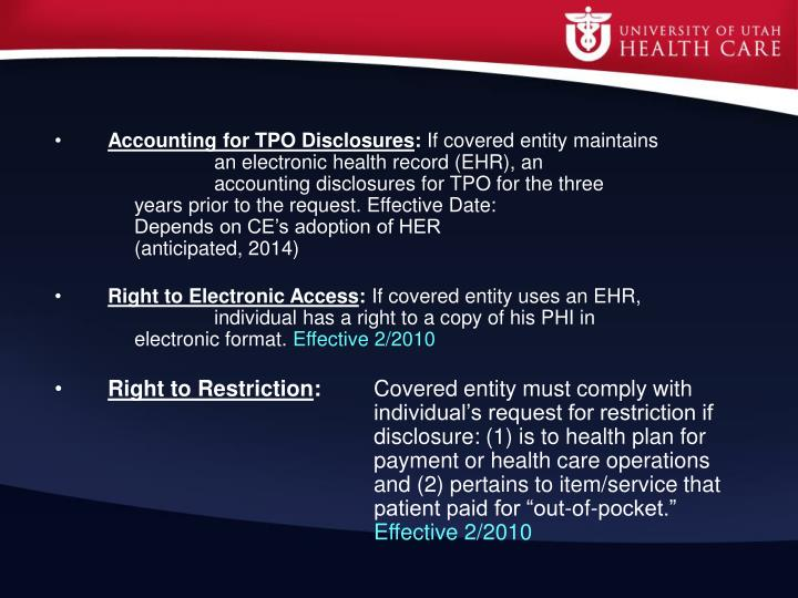 Accounting for TPO Disclosures