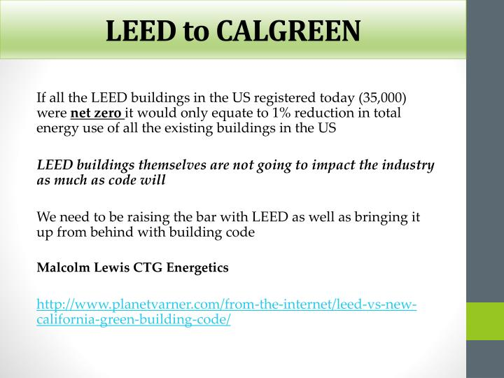 LEED to CALGREEN