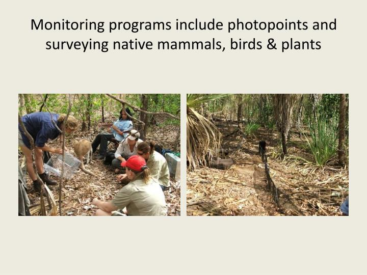 Monitoring programs include photopoints and surveying native mammals, birds & plants