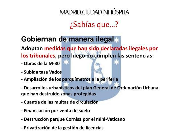 MADRID, CIUDAD INHÓSPITA