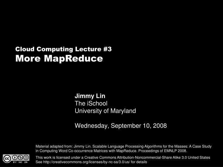 Jimmy lin the ischool university of maryland wednesday september 10 2008