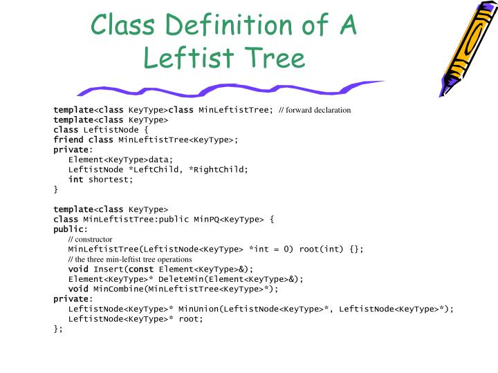 Class Definition of A Leftist Tree