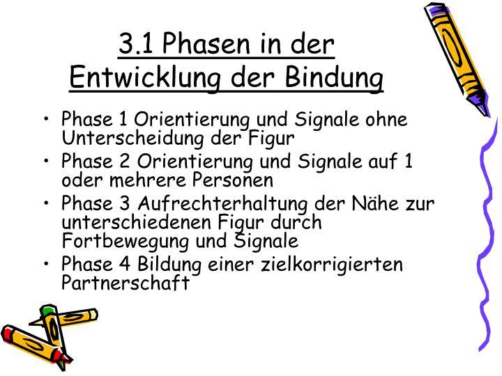 3.1 Phasen in der Entwicklung der Bindung