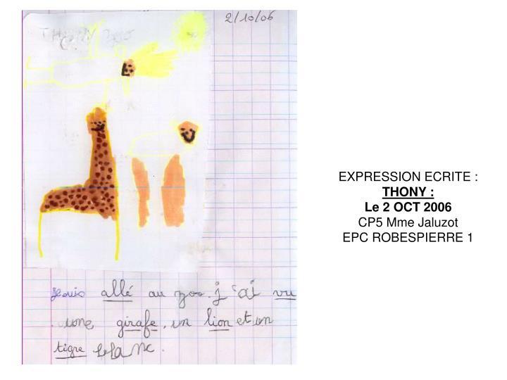 EXPRESSION ECRITE: