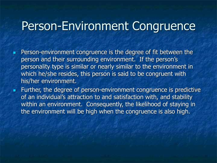 Person-Environment Congruence