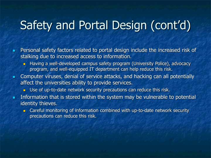 Safety and Portal Design (cont'd)