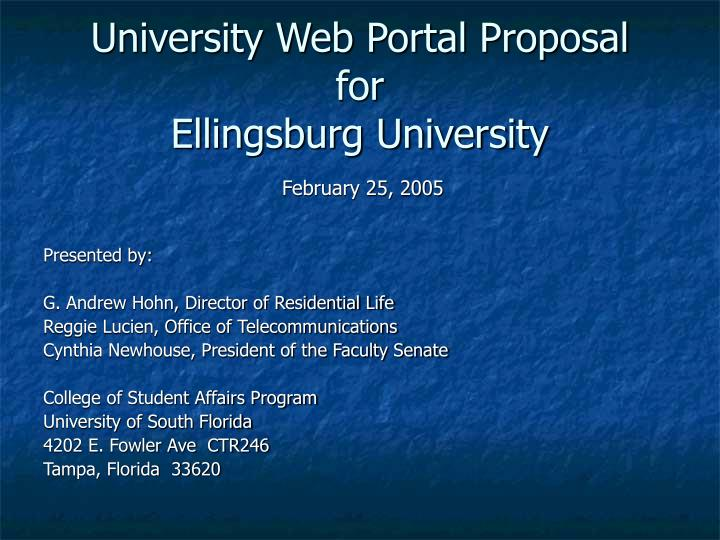 University web portal proposal for ellingsburg university