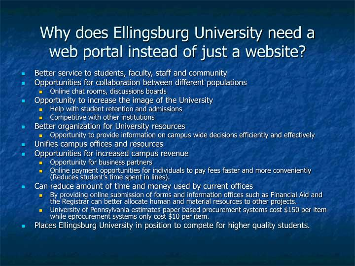 Why does ellingsburg university need a web portal instead of just a website