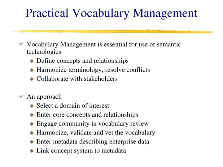 Practical Vocabulary Management