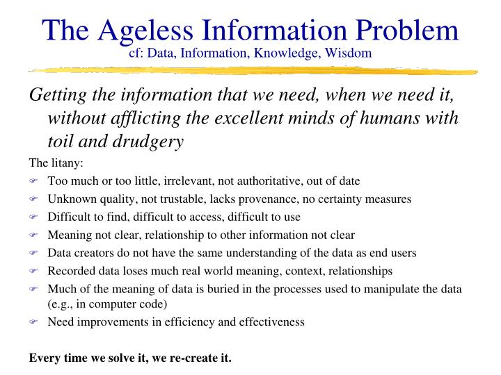 The Ageless Information Problem
