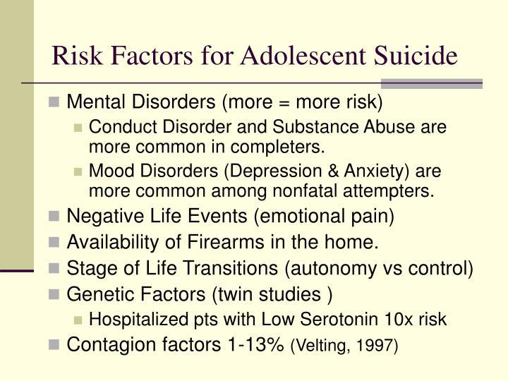 Risk Factors for Adolescent Suicide