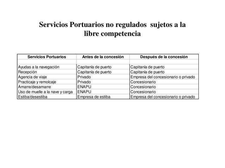 Servicios Portuarios no regulados  sujetos a la libre competencia
