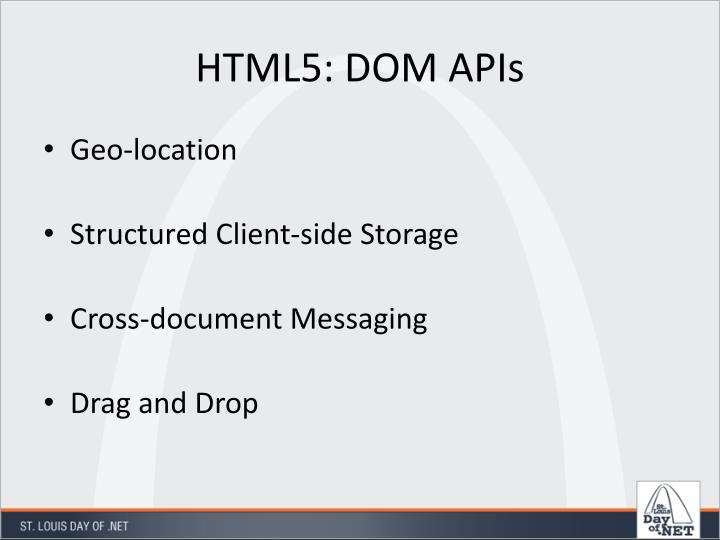 HTML5: DOM APIs