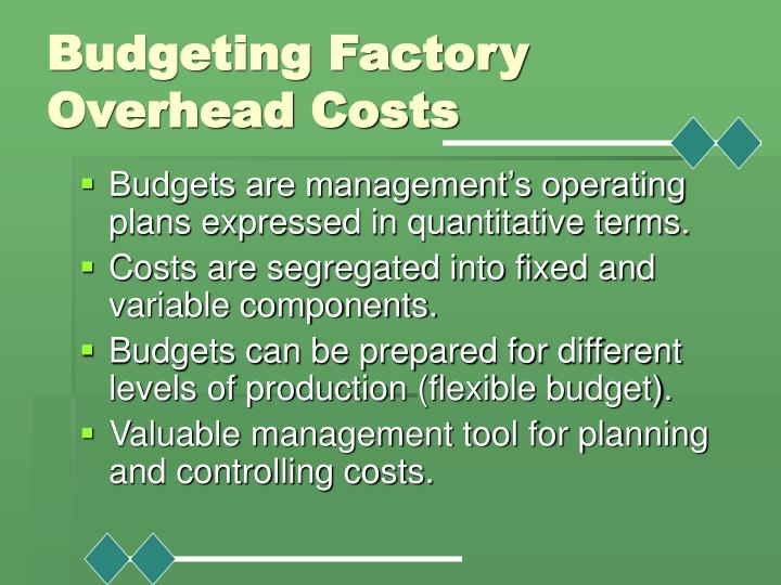 Budgeting Factory Overhead Costs