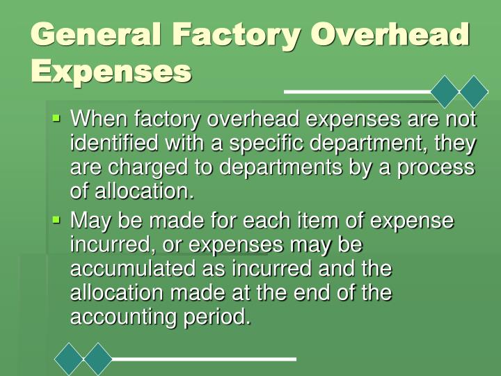 General Factory Overhead Expenses
