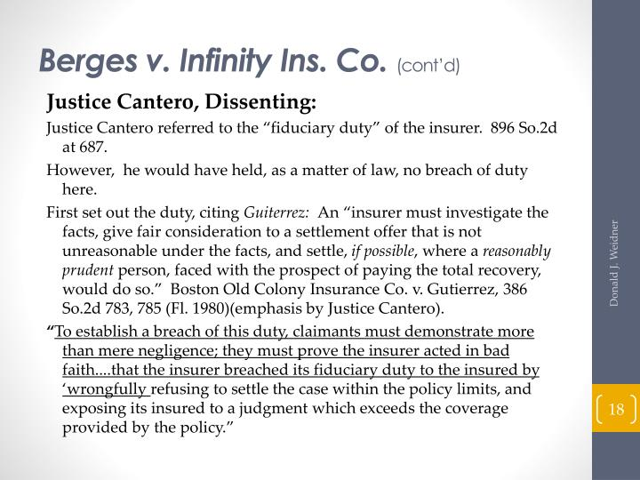 Berges v. Infinity Ins. Co.