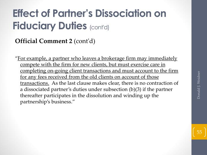 Effect of Partner's Dissociation on Fiduciary Duties