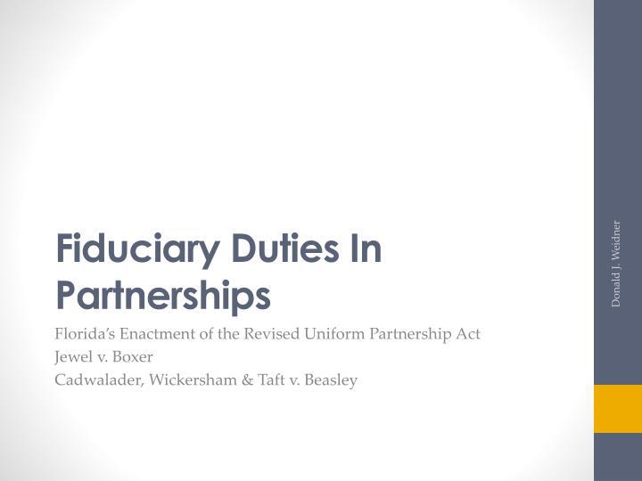 Fiduciary Duties In Partnerships