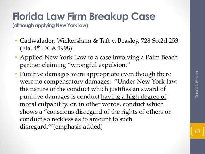 Florida Law Firm Breakup Case