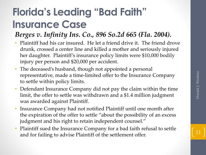 "Florida's Leading ""Bad Faith"" Insurance Case"