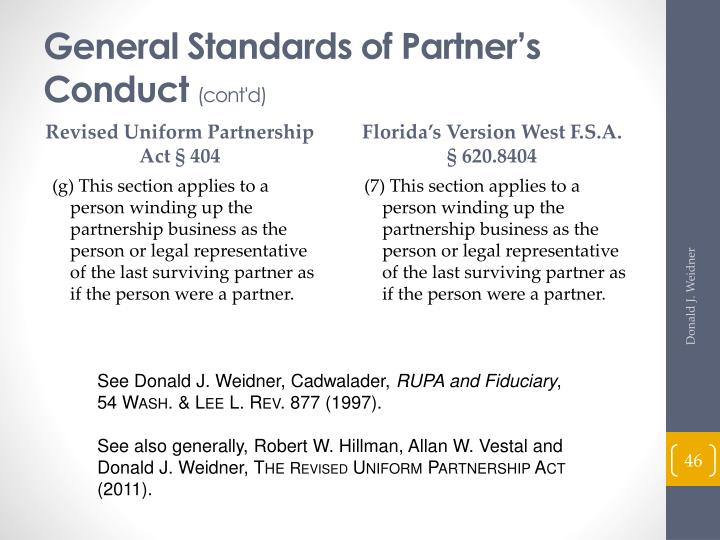 General Standards of Partner's Conduct