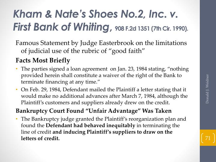 Kham & Nate's Shoes No.2, Inc. v. First Bank of Whiting