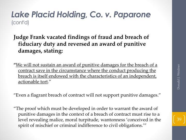 Lake Placid Holding, Co. v. Paparone