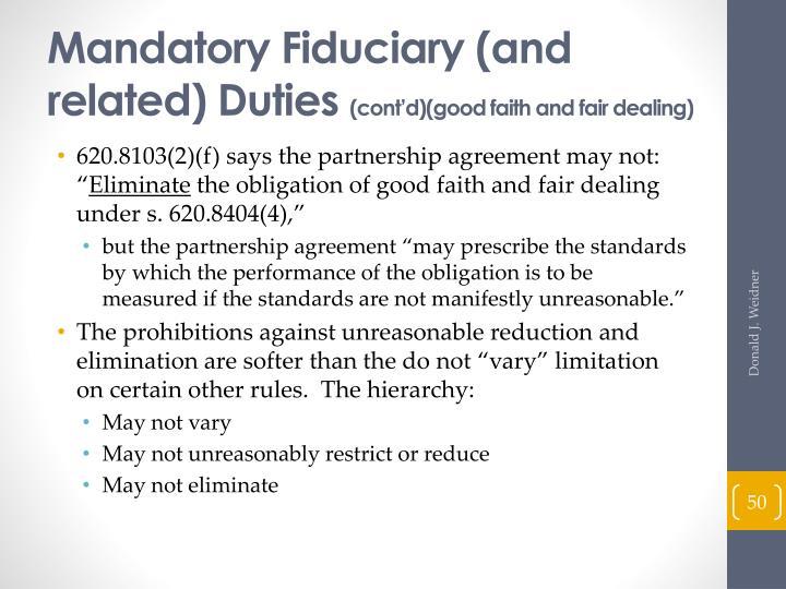 Mandatory Fiduciary (and related) Duties