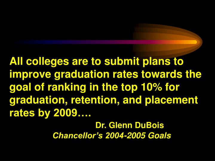 All colleges are to submit plans to improve graduation rates towards the goal of ranking in the top 10% for graduation, retention, and placement rates by 2009….